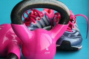exercise shoes and kettle bell